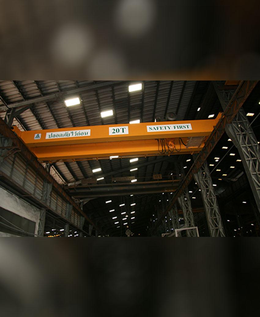 เครนเหนือศีรษะชนิดรางคู่ (โอเวอร์เฮดเครนรางคู่) ขนาด 20 ตัน กว้าง 12 เมตร