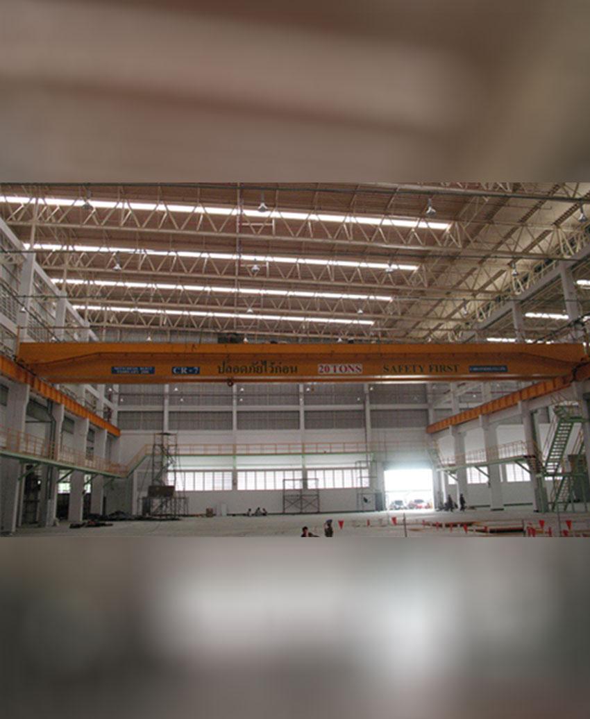 เครนเหนือศีรษะชนิดรางคู่ (โอเวอร์เฮดเครนรางคู่) ขนาด 20 ตัน กว้าง 34 เมตร