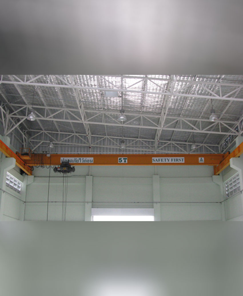 เครนเหนือศีรษะชนิดรางเดี่ยว (โอเวอร์เฮดเครนรางเดี่ยว) ขนาด 5 ตัน กว้าง 14 เมตร